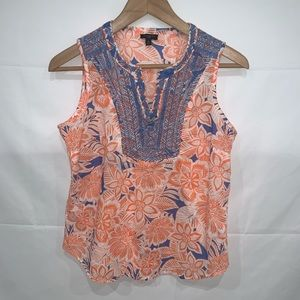 Talbots sleeveless embroidered cotton blouse